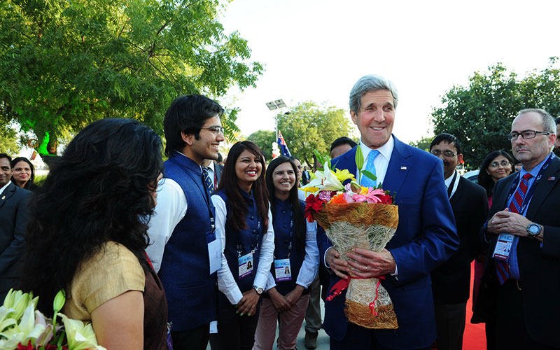 JOHN KERRY, United States Secretary of State being welcomed by students of PDPU